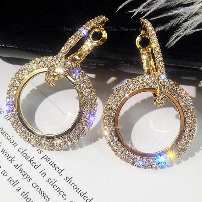 美しい 合金 ラインストーン とともに ラインストーン 女性用 ファッションイヤリング (単一片で販売)