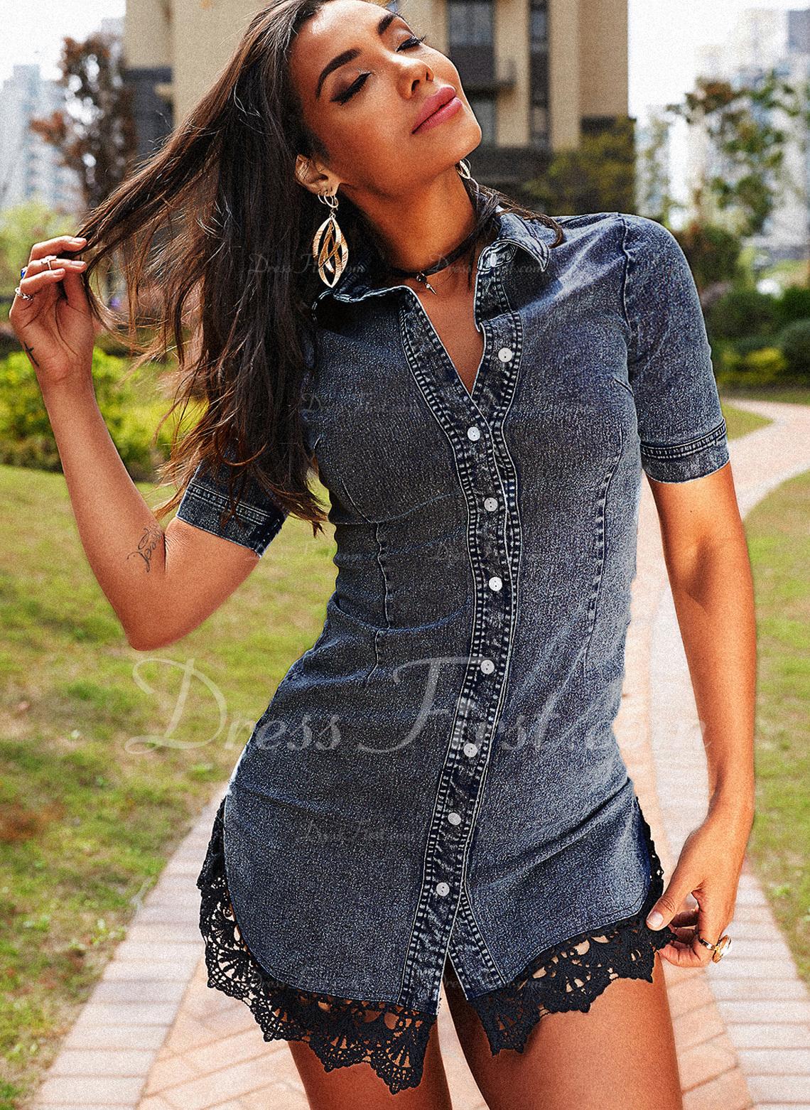 Lace Sheath Short Sleeves Mini Denim Casual Shirt Dresses