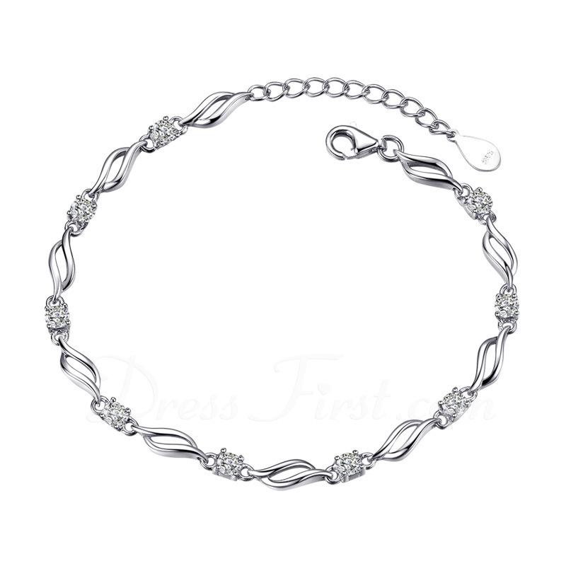 Dames Mooi 925 Sterling Zilveren met Diamond Kubieke Zirkonia Armbanden Haar/Vrienden