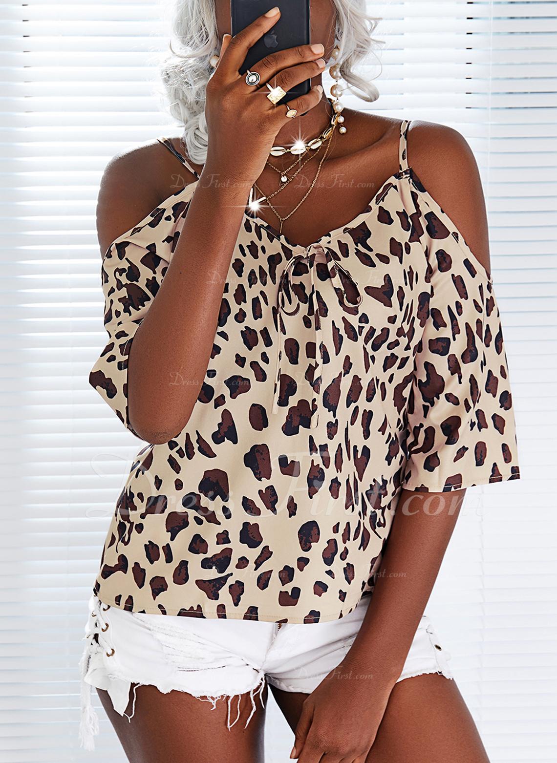 Leopardo Top Con Hombros Mangas 3/4 Casual Blusas