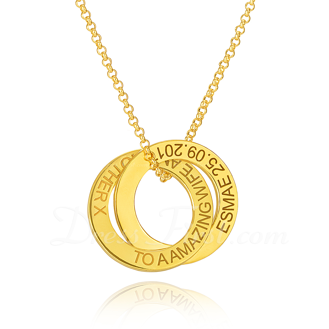 Personalizado Plata chapada en oro de 18 k Grabado / Grabado Circulo Superposición Dos Collar grabado Collar Circular - Regalos De Cumpleanos Regalos Del Día De La Madre