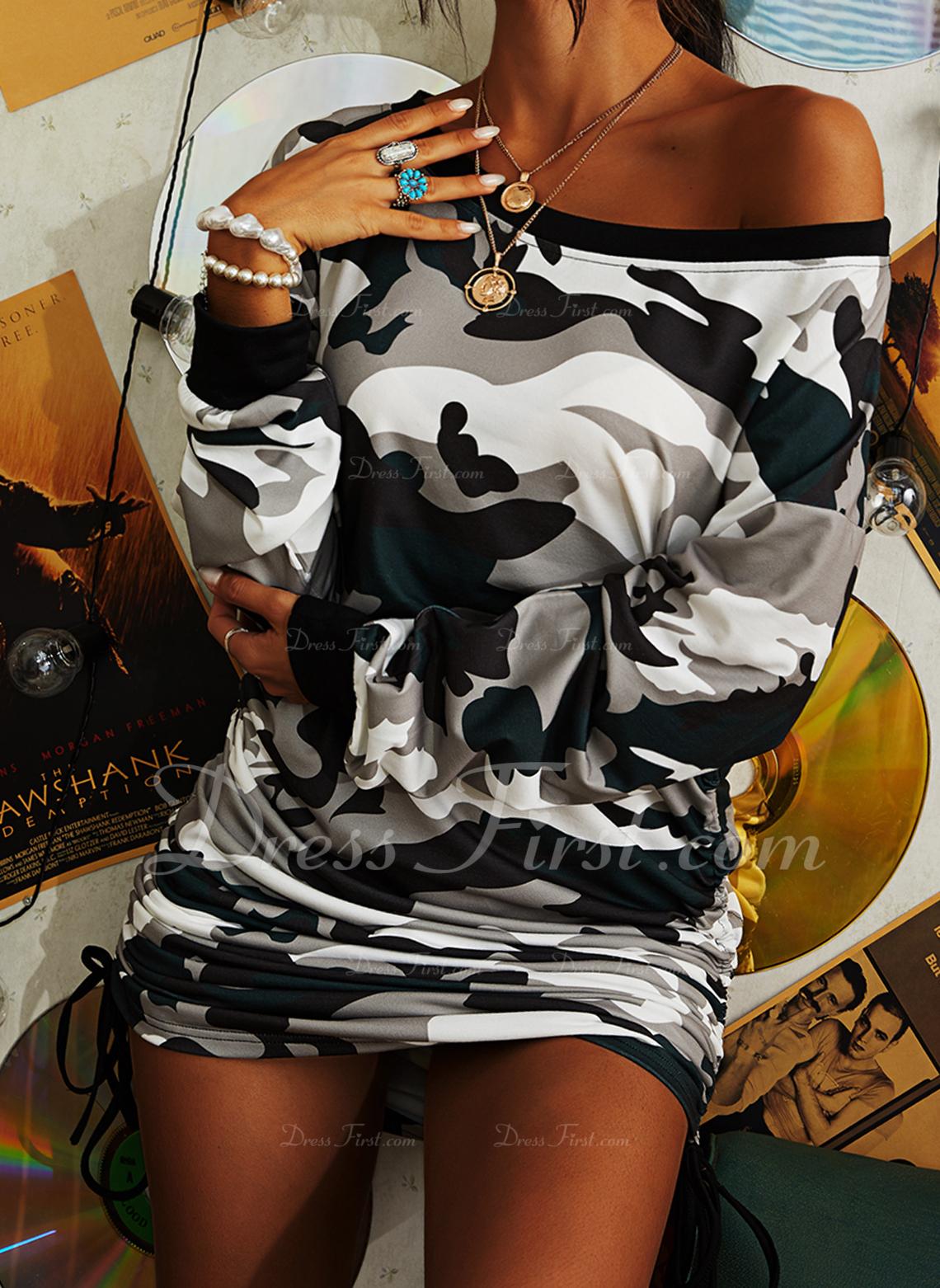Imprimeu Conică Mâneci Lungi Mini gündelik Kazak Moda Elbiseler
