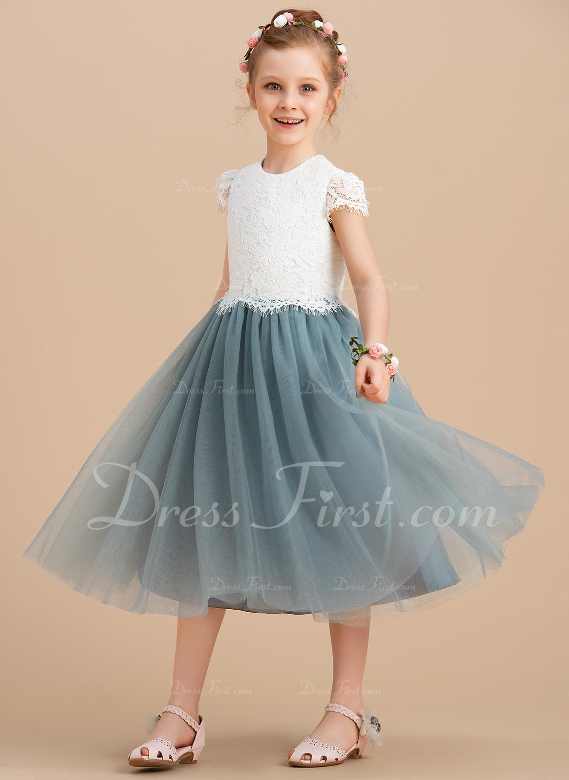 A-Line/Princess Tea-length Flower Girl Dress - Tulle/Lace Sleeveless Scoop Neck