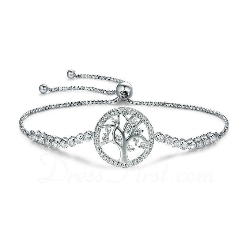 Platino Plateado Cadena de enlace Bracelets De Mariée Bracelets Bolo con Árbol - Regalos De San Valentín Para Ella