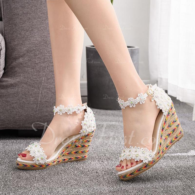 Kids' Leatherette Wedge Heel Flip-Flops Peep Toe Platform Sandals Wedges Beach Wedding Shoes With Sequin Flower Applique