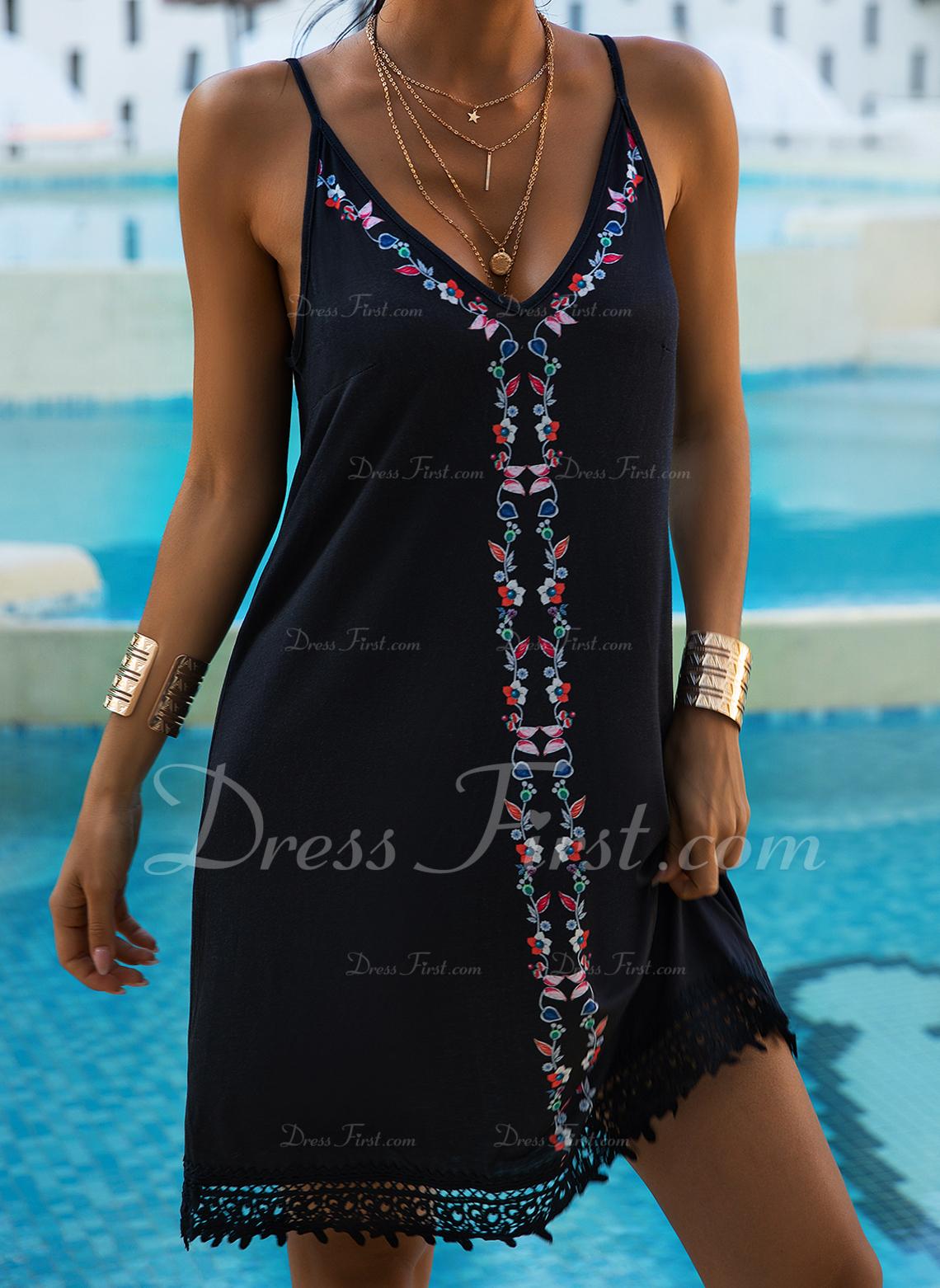 Floral Lace Print Shift Sleeveless Mini Casual Vacation Tank Dresses
