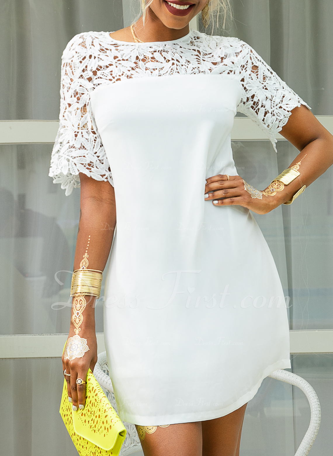 Above Knee Round Neck Polyester/Lace Lace/Stitching Short Sleeves Fashion Dresses