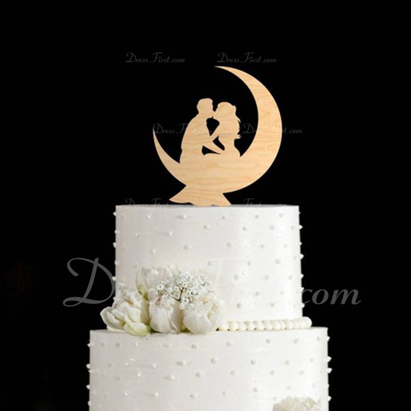 Kissing Couple Acrylic/Wood Cake Topper