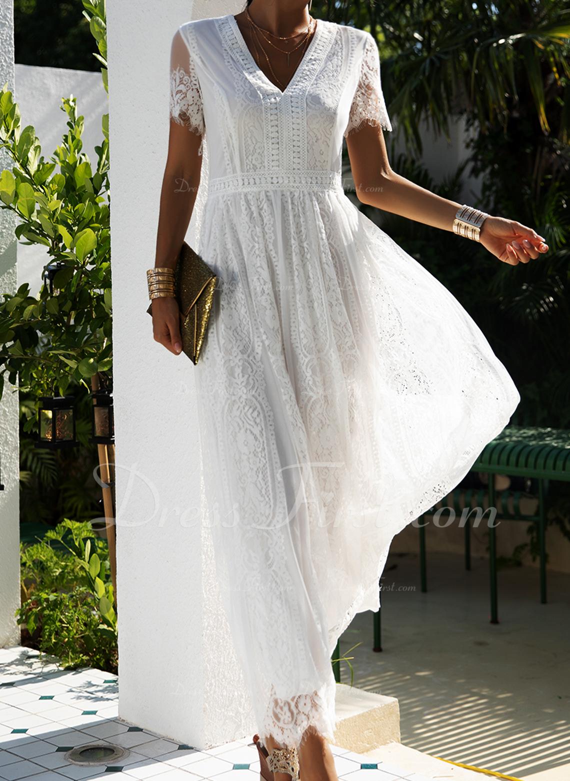 Dantel Solid Bir Çizgi Mâneci Scurte Maxi Zarif Patenci Moda Elbiseler