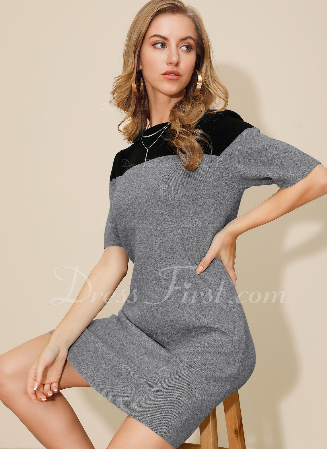 Blocchi di colore A trapezio 1/2 maniche Mini Casuale Maglioni Vestiti di moda
