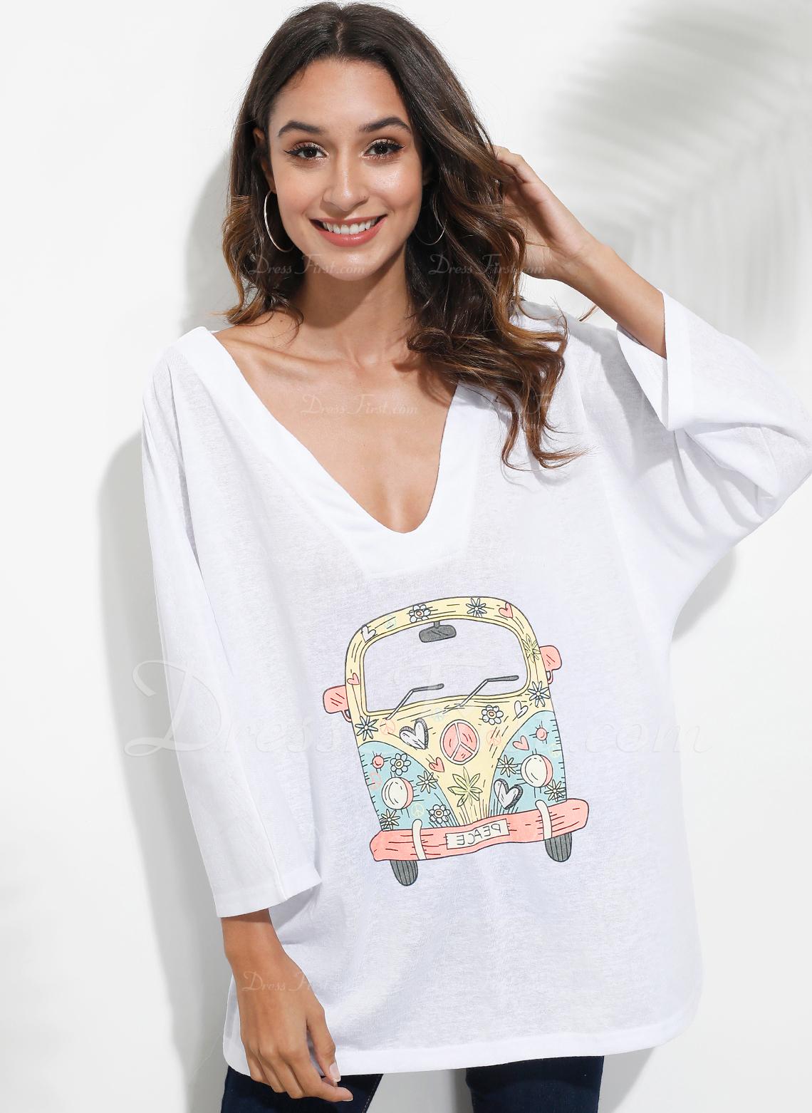 Print Lange ærmer Polyester V-hals T-shirt Bluser