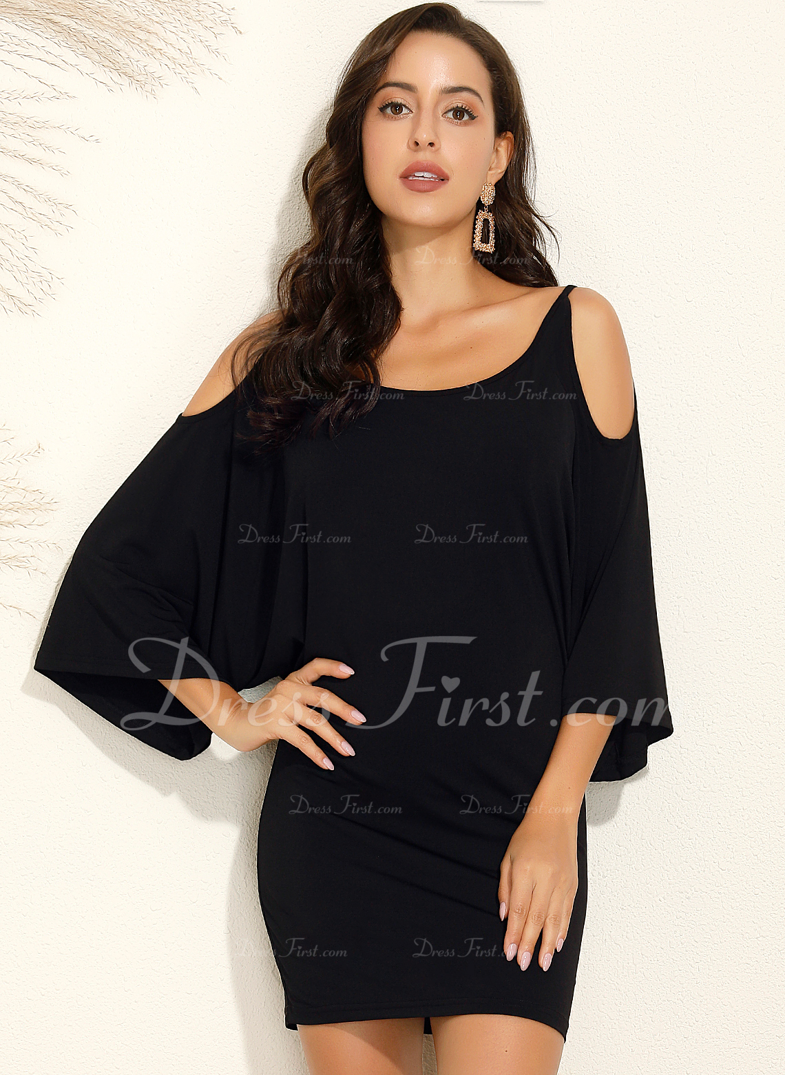 Above Knee Cotton Solid Long Sleeves/Batwing Sleeves/Cold Shoulder Sleeve Solid Fashion Dresses