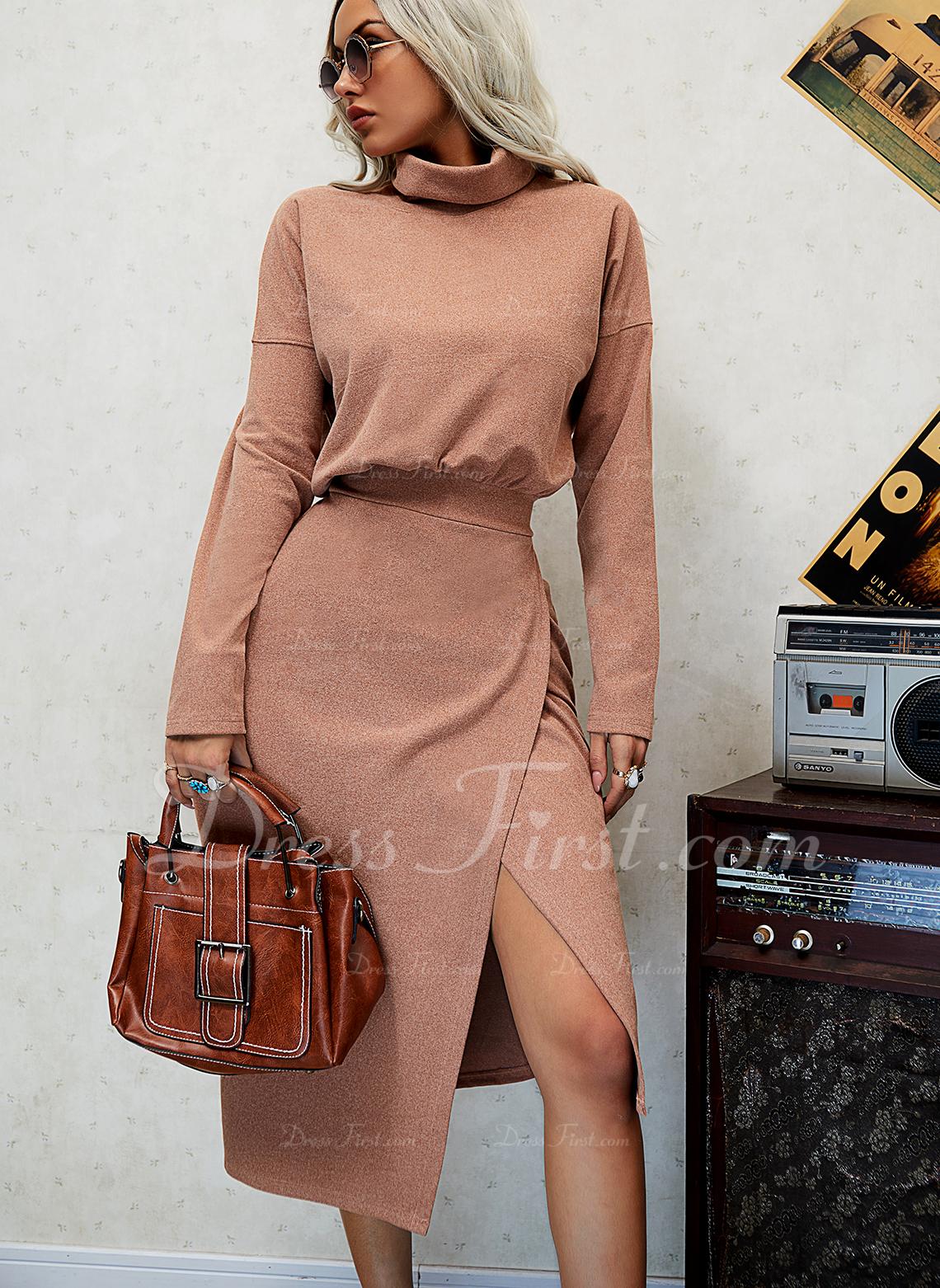 Sólido Bainha Manga Comprida Midi Casual Vestidos na Moda