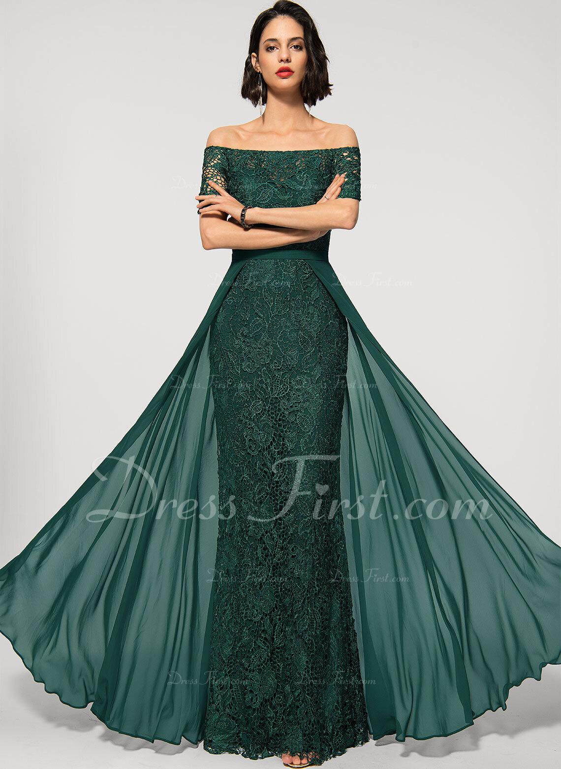 Sheath/Column Off-the-Shoulder Floor-Length Chiffon Lace Evening Dress