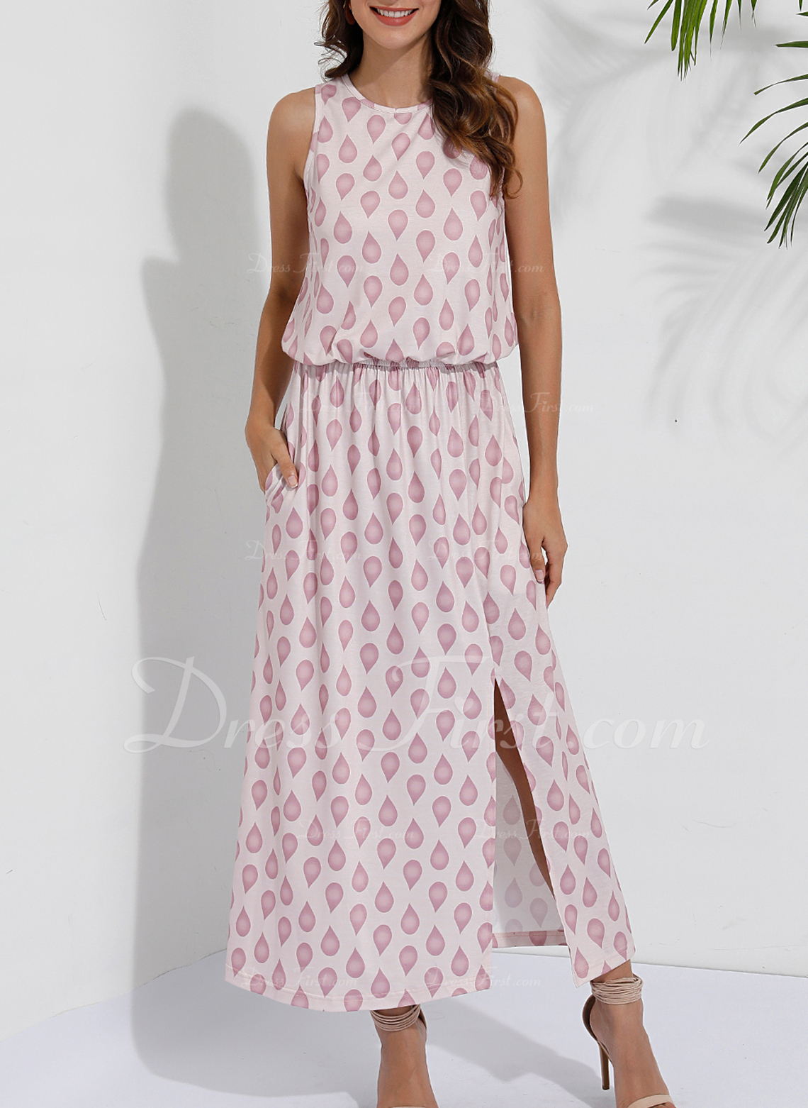 Print A-line Sleeveless Maxi Casual Dresses
