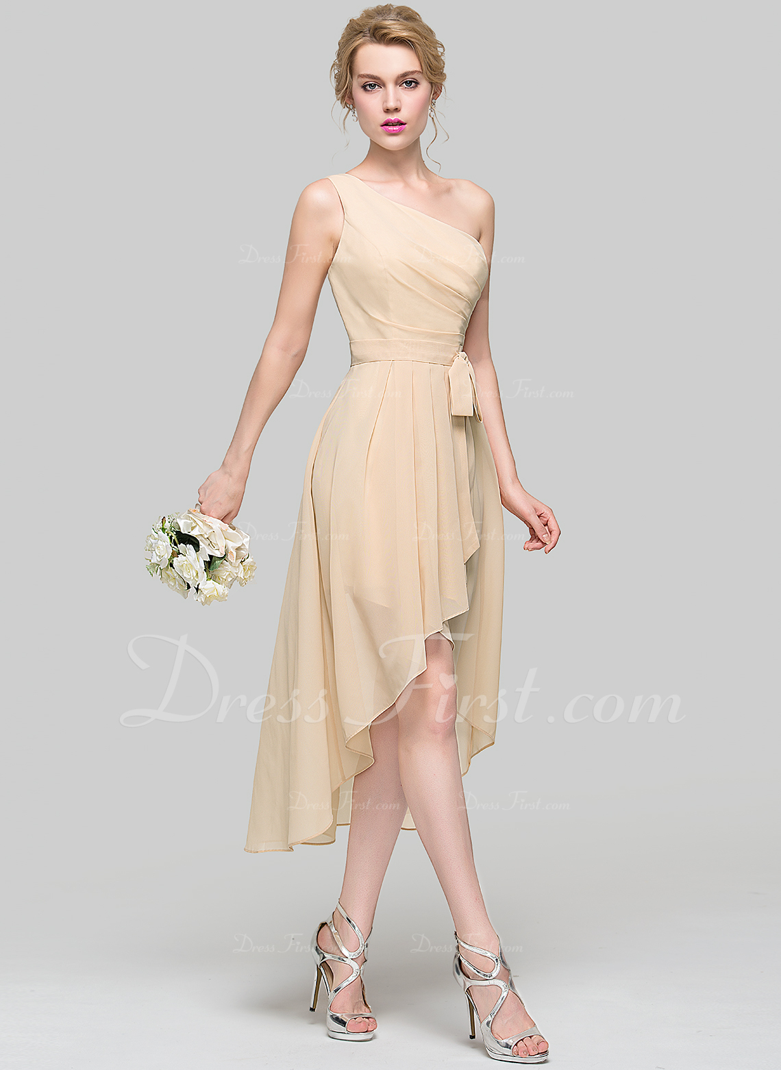 19493dadb0126 Loading zoom. Loading. Color: Champagne. A-Line/Princess One-Shoulder  Asymmetrical Chiffon Bridesmaid Dress With Ruffle Bow(s) Cascading ...