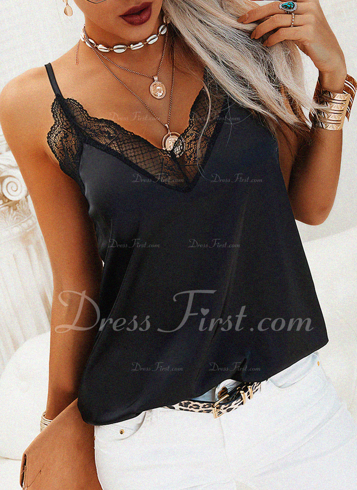 Lace Solid Spaghetti Straps Sleeveless Casual Sexy Tank Tops