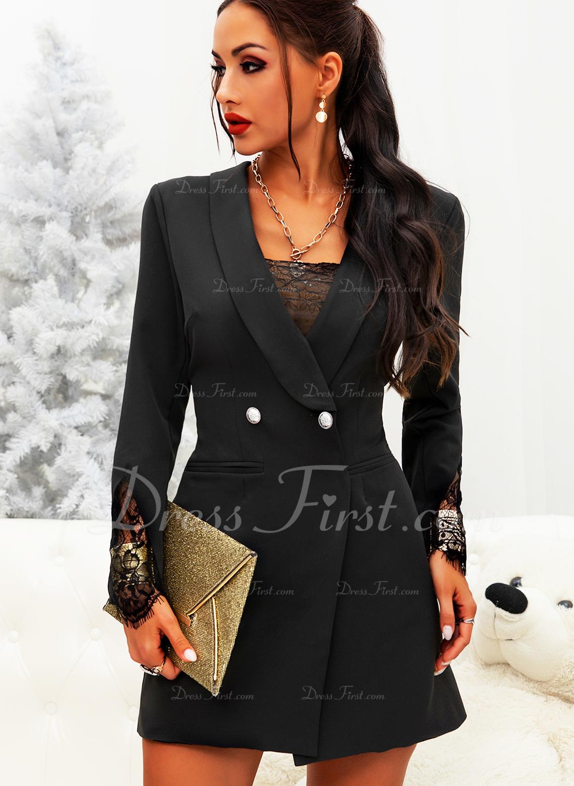 Blonder Solid Bodycon Lange ærmer Mini Den lille sorte Elegant Mode kjoler