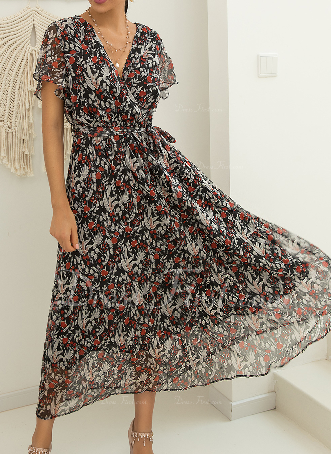 Floral Impresión Vestido línea A Manga Corta Maxi Casual Vacaciones Patinador Bolero Vestidos de moda