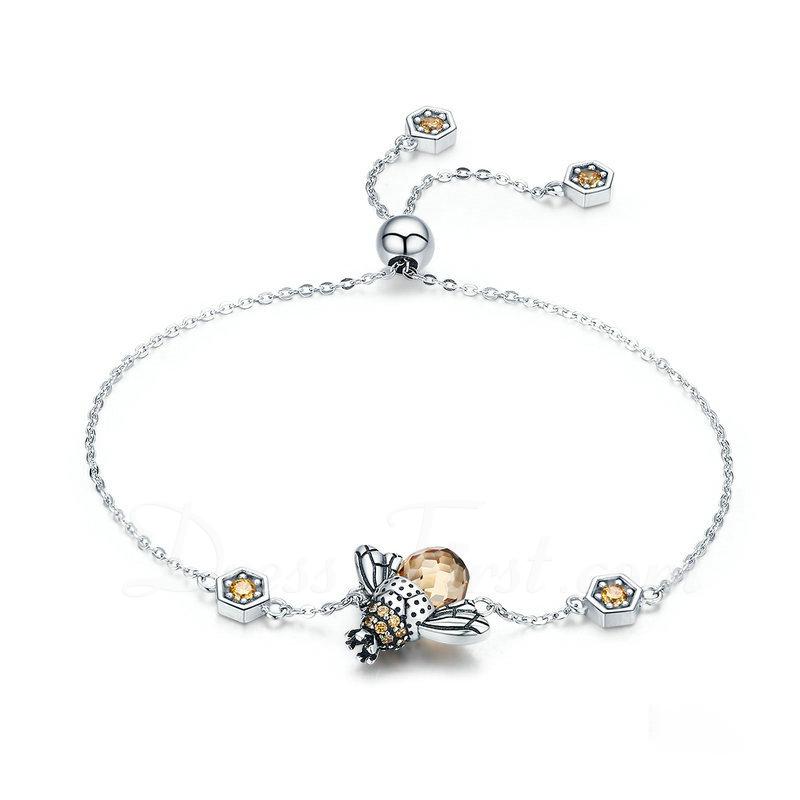 Platino Plateado Cadena de enlace Bracelets De Charme Bracelets Bolo - Regalos De San Valentín Para Ella