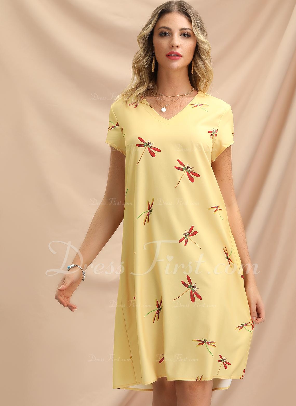 Kolano Długość Litera V Mieszanki bawełniane Wydrukować Krótkie Rękawy Modne Suknie