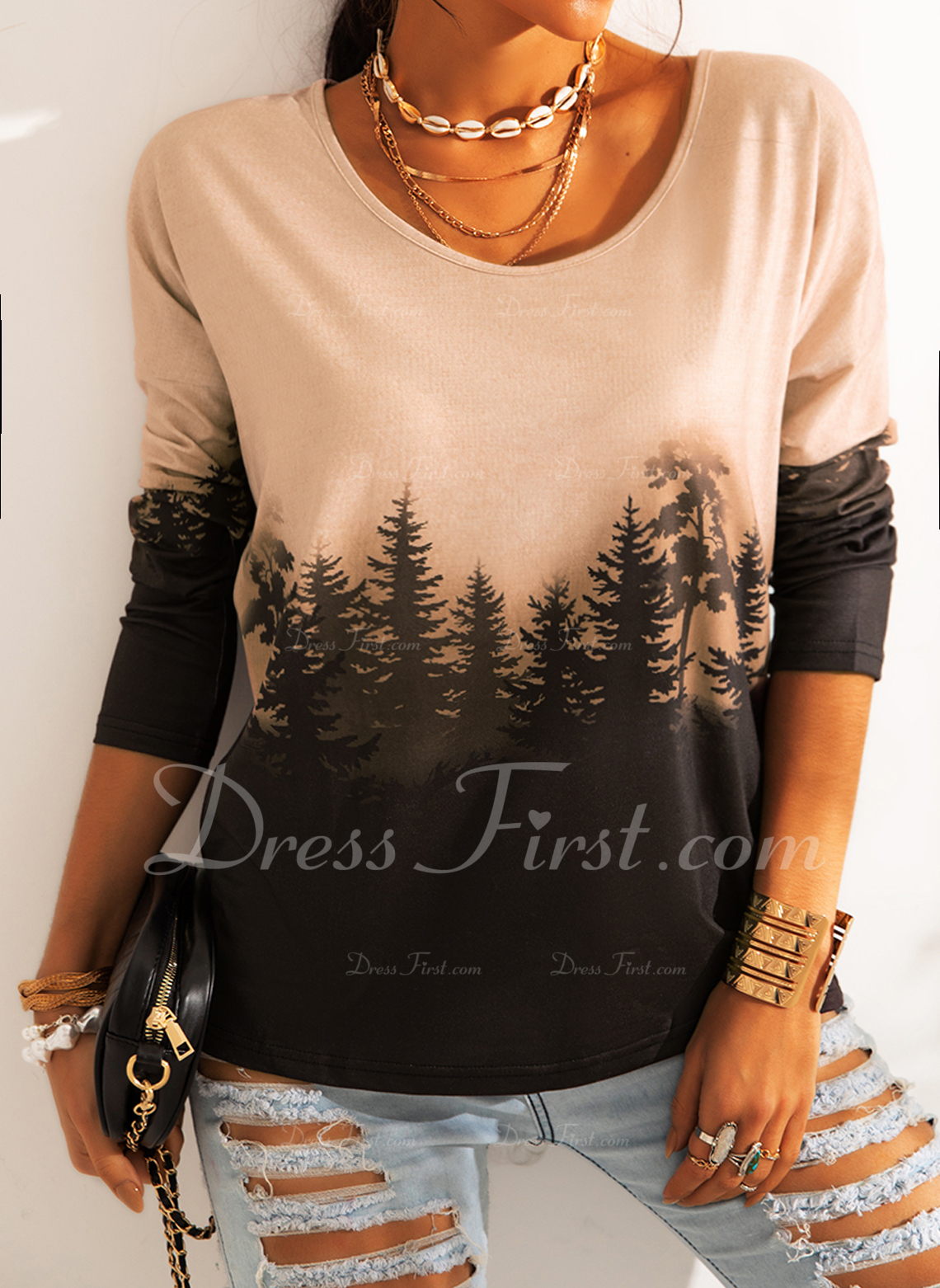Forest Print Round Neck Long Sleeves Casual T-shirt