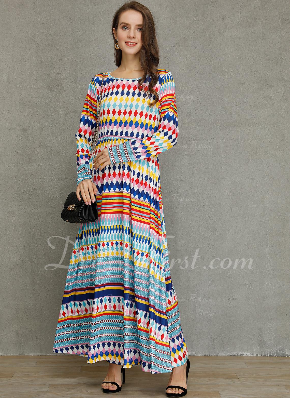 Druk Geometryczny Suknie shift Rękawy 3/4 Maxi Nieformalny Modne Suknie