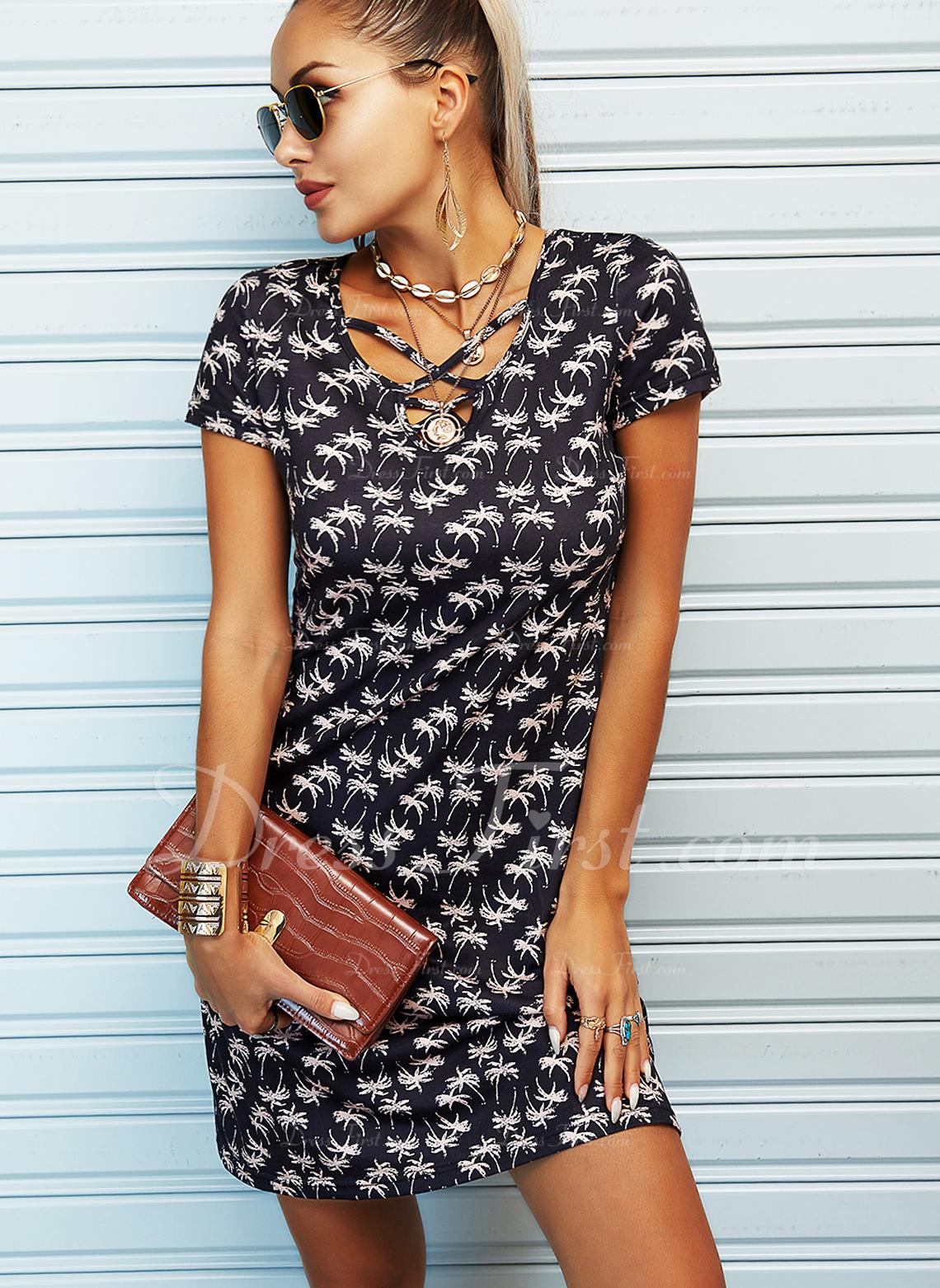 Print A-linjeklänning Korta ärmar Mini Fritids skater Modeklänningar