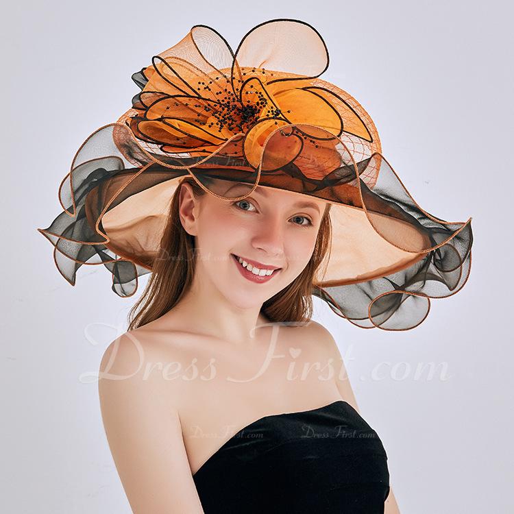 Señoras' Glamorosa/Llamativo/Pretty Organdí con Flor Disquete Sombrero/Sombreros Playa / Sol/Derby Kentucky Sombreros
