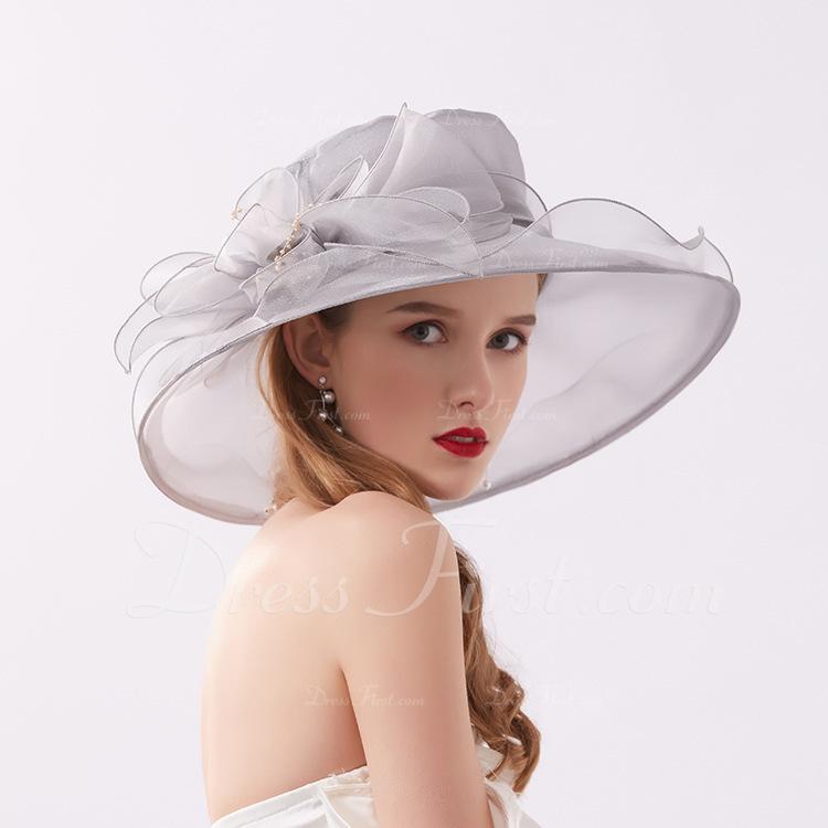 Señoras' Glamorosa/Llamativo Hilado de la red con La perla de faux Sombreros Playa / Sol/Derby Kentucky Sombreros/Sombreros Tea Party