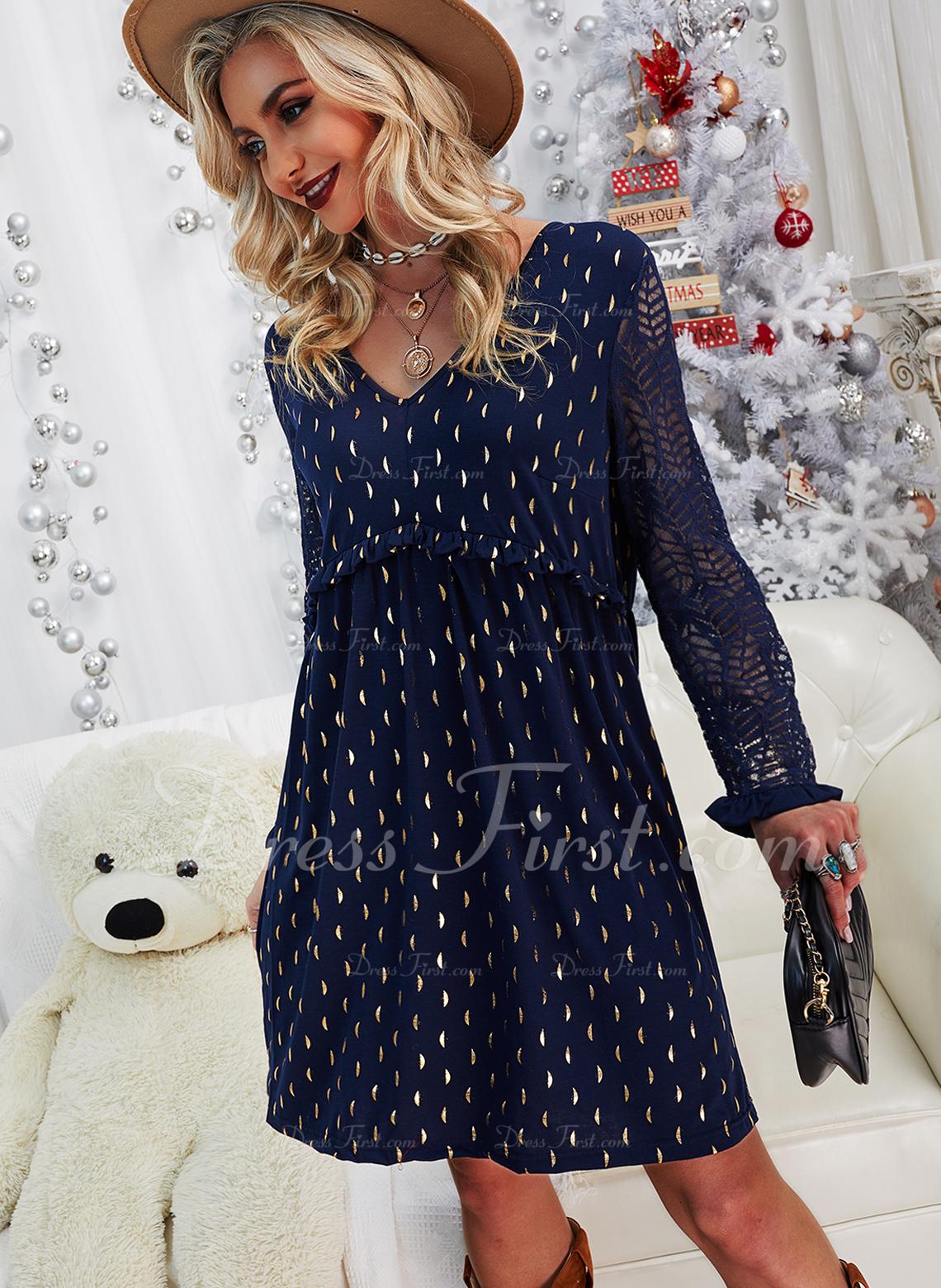 レース 印刷 シフトドレス 長袖 ミディ カジュアル エレガント チュニック ファッションドレス