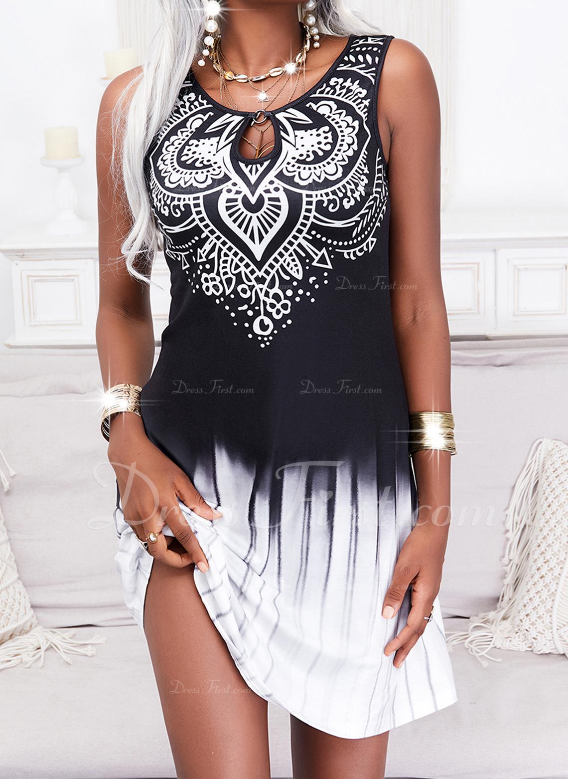 Impresión Degradada Vestidos sueltos Sin mangas Midi Casual Vestidos de moda