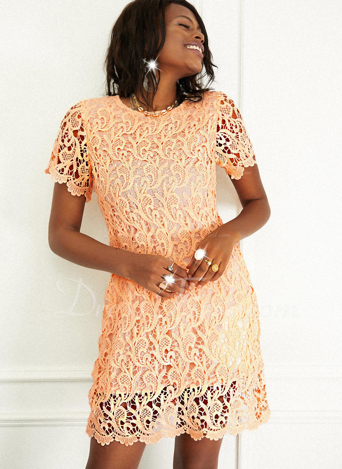 Encaje Sólido Cubierta Manga Corta Mini Casual Vestidos de moda