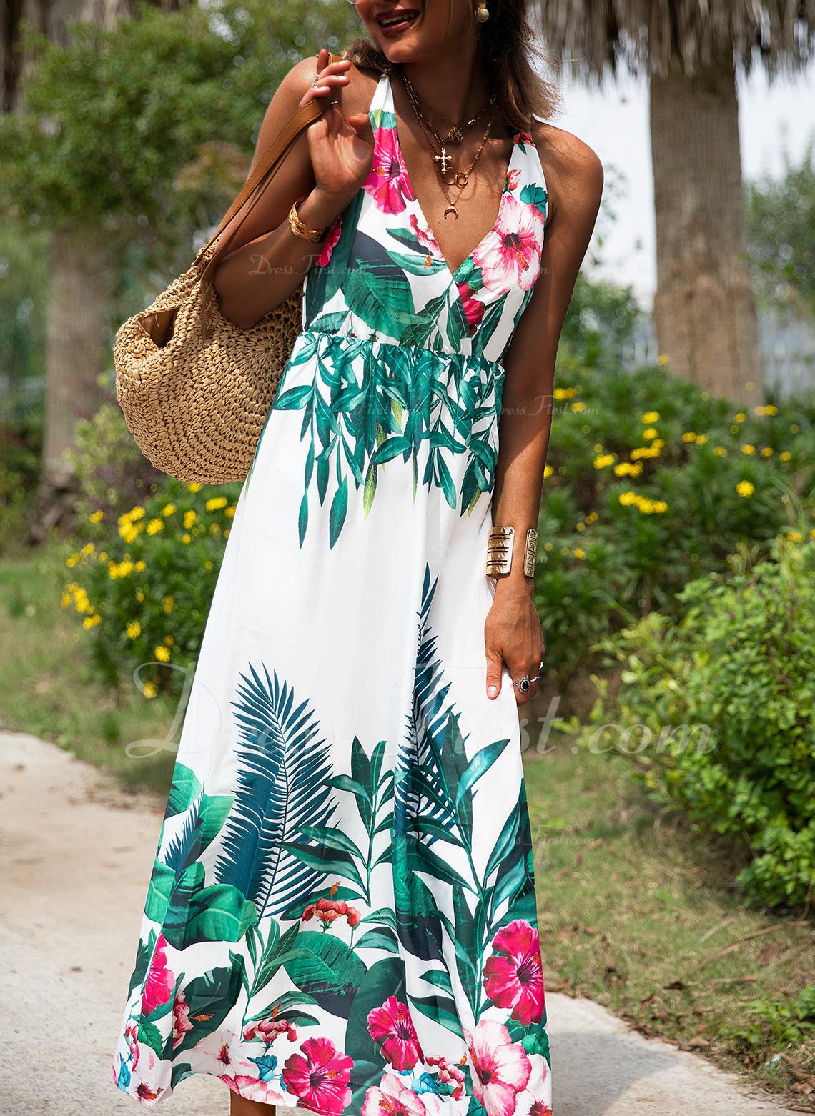 Floral Imprimeu Bir Çizgi Kolsuz Maxi gündelik Tatil Patenci Moda Elbiseler