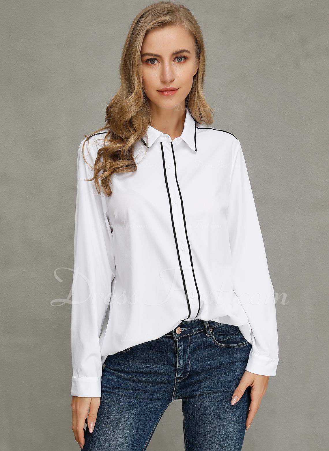 Sólido Manga larga poliéster Solapa Camisas Blusas Blusas