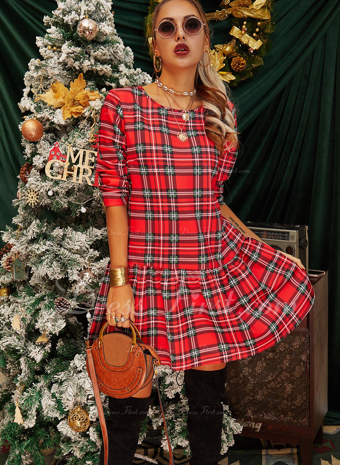Pläd Shiftklänningar Långa ärmar Mini Fritids Modeklänningar