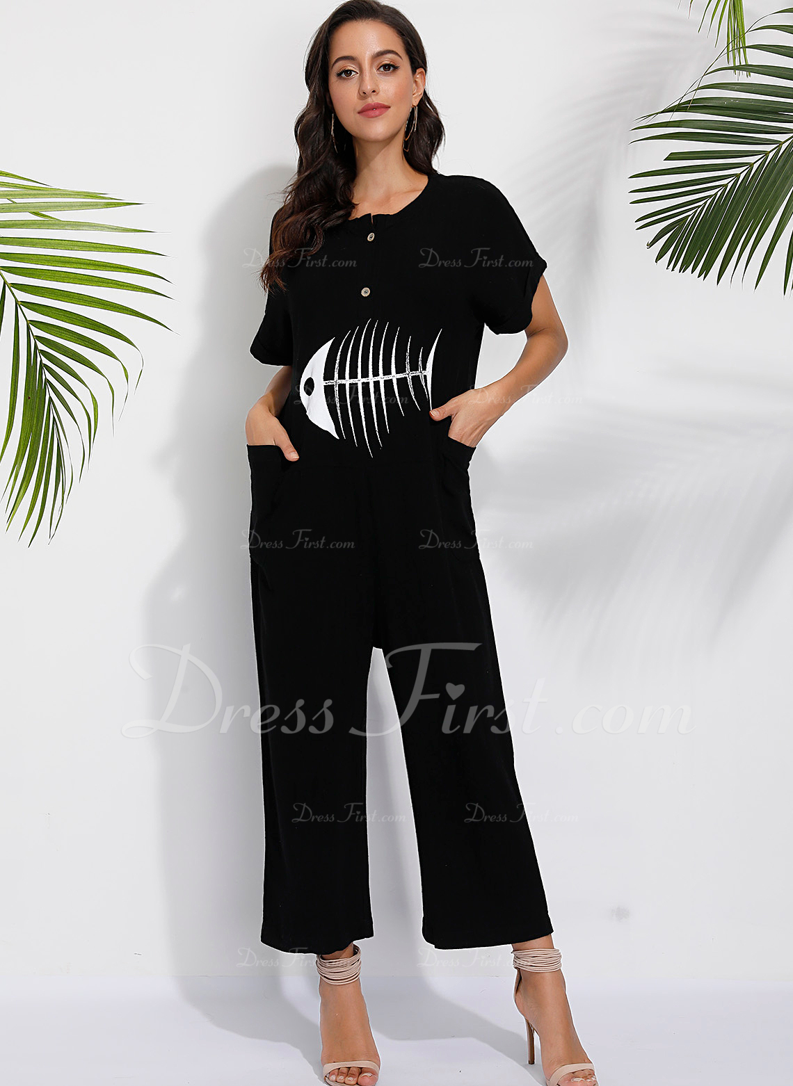 アニマル柄 半袖 カジュアル ジャンプスーツ ファッションドレス