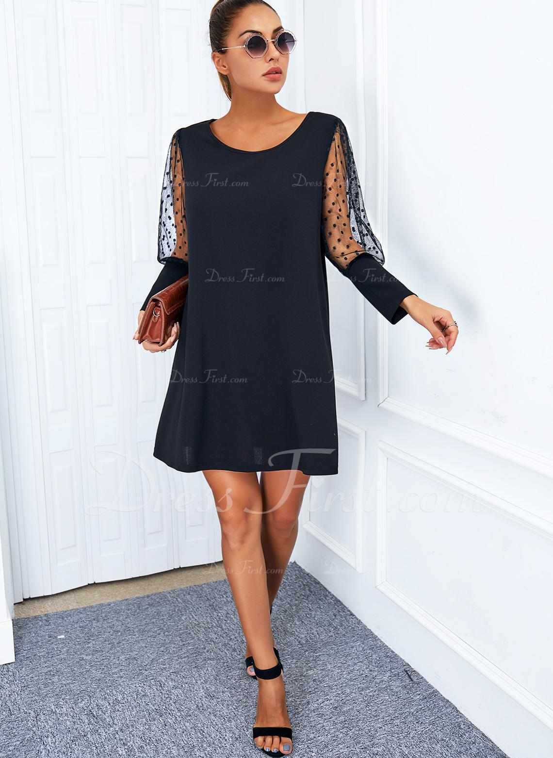 Solid Skiftekjoler Lange ærmer Mini Den lille sorte Elegant Mode kjoler