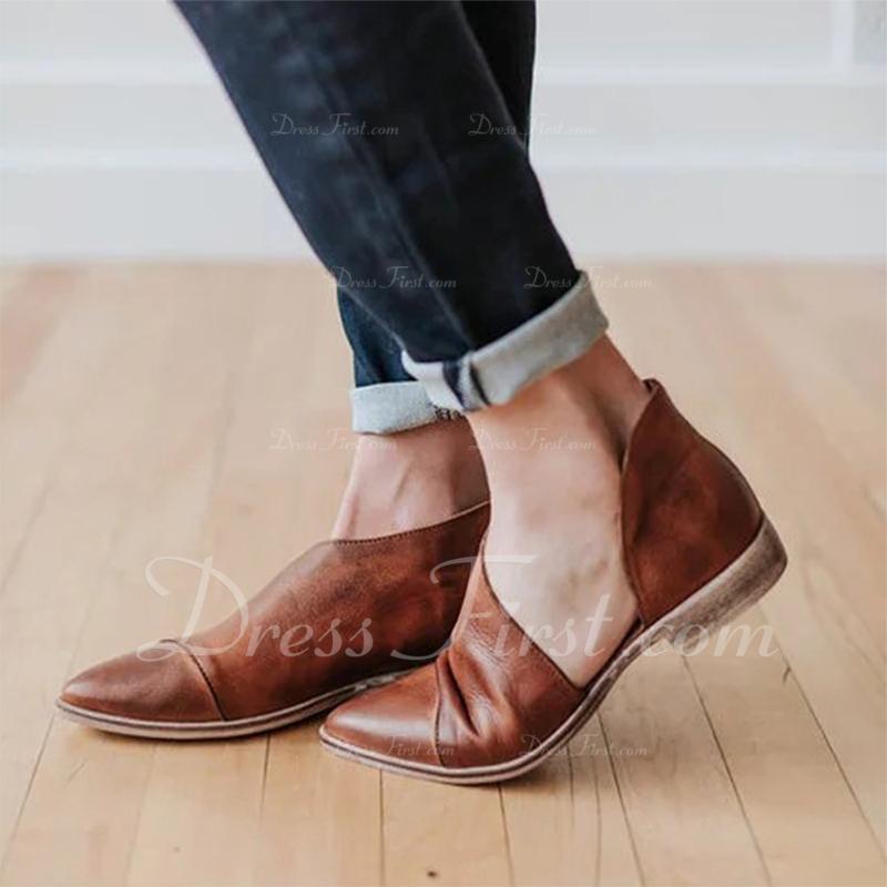 De mujer Cuero Tacón bajo Planos zapatos