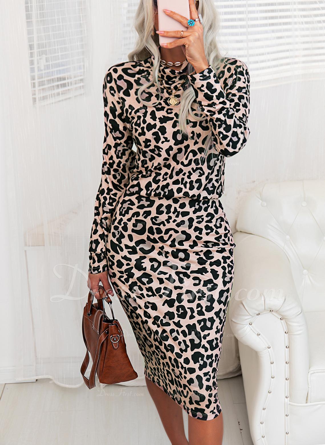 Leopard Bodycon Lange ærmer Midi Elegant Mode kjoler