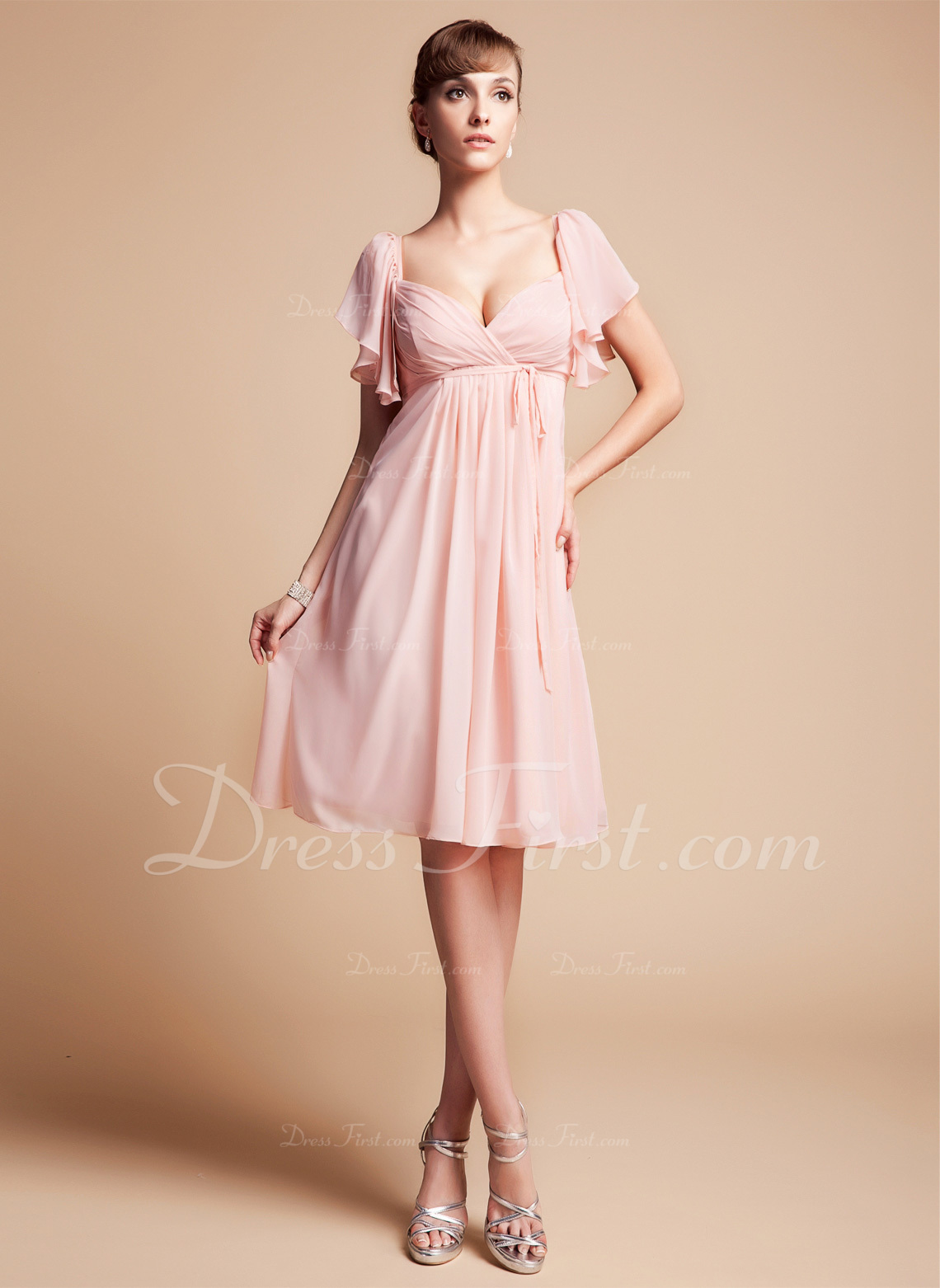 Robe empire rose pale