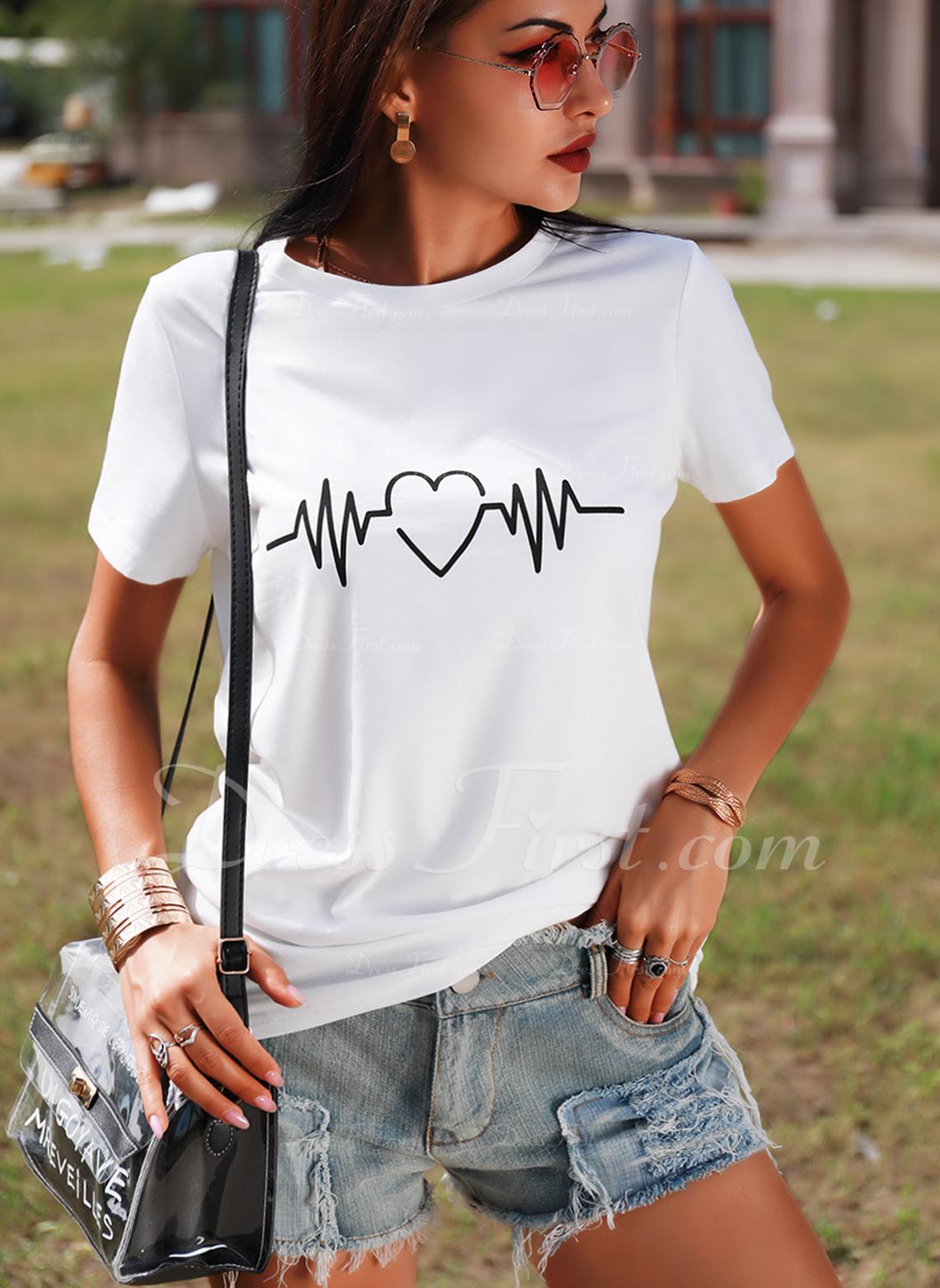 Stampa Girocollo Maniche corte Casuale Reggiseno Tshirt