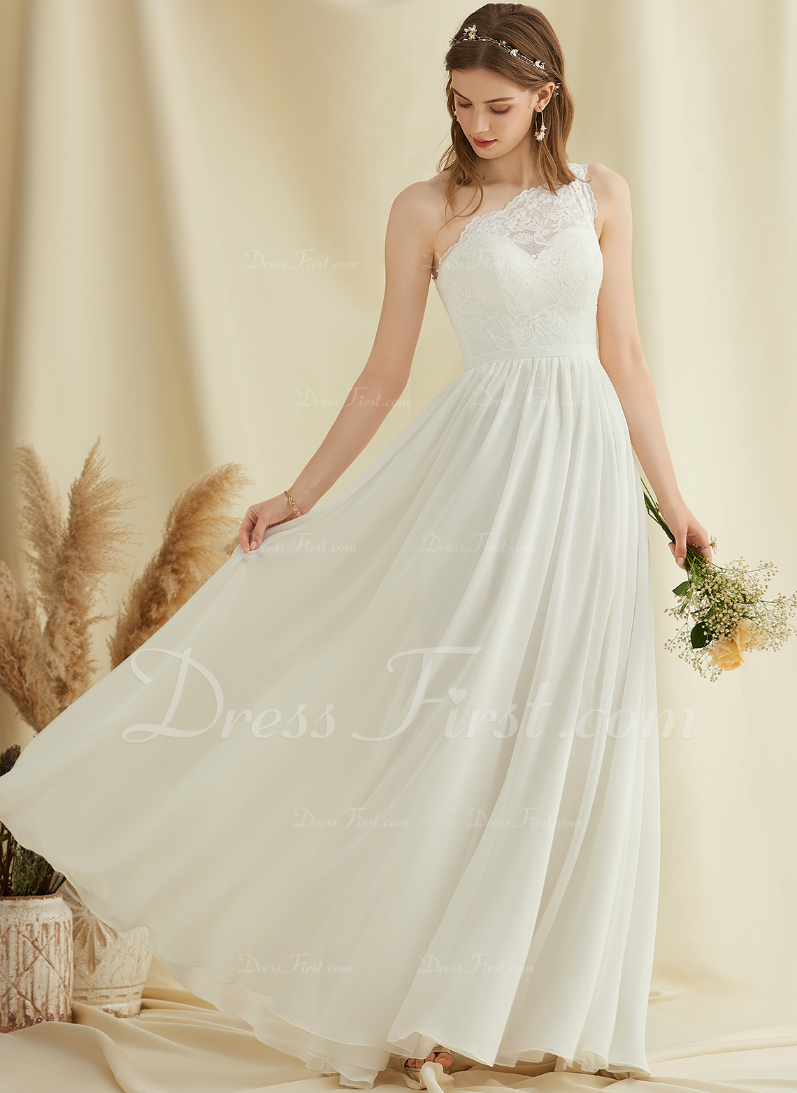A-Line One-Shoulder Floor-Length Chiffon Lace Wedding Dress With Split Front
