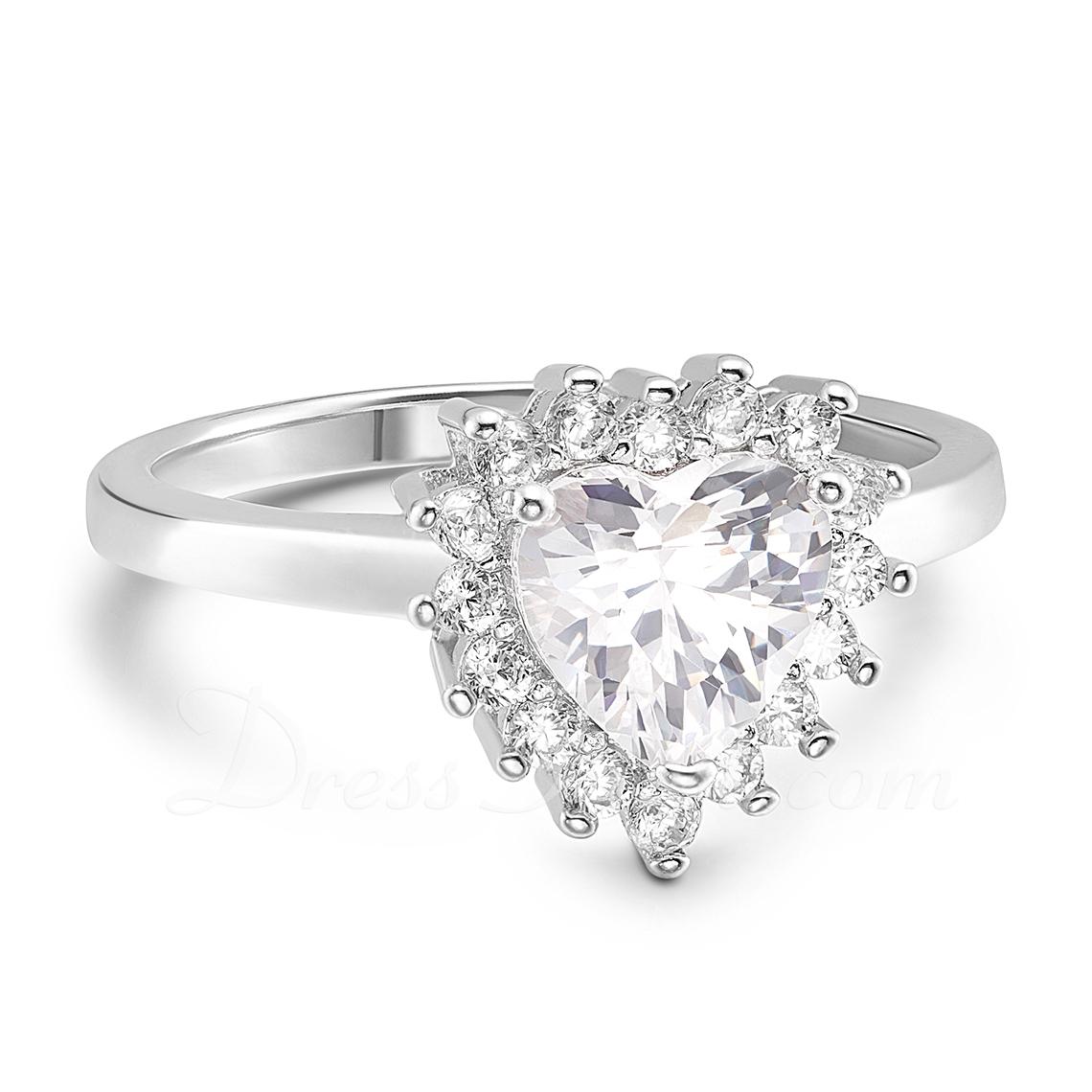 Sterling Silver Cyrkonia Aureola Pasjans Heart Cut Pierścionek zaręczynowy Krążki Obietnica -