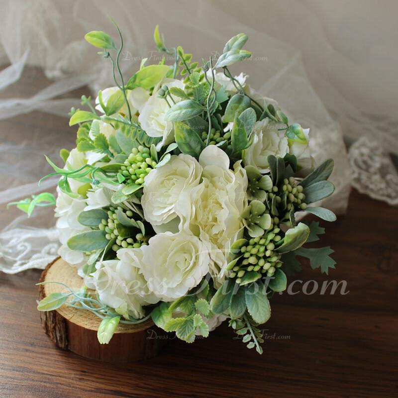 Atractiva Redondo Flores de seda Ramos de novia - Ramos de novia