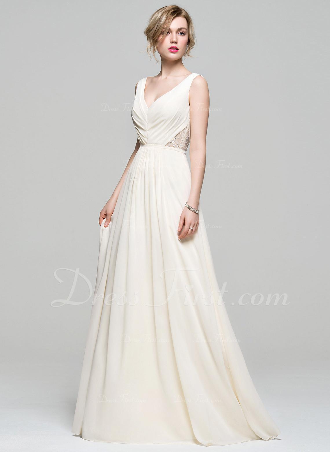 fe89126adfe A-Line Princess V-neck Floor-Length Chiffon Bridesmaid Dress With Ruffle  Lace Beading Sequins  74167