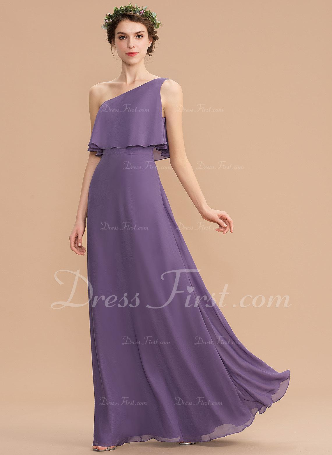 fdeb3645432 A-Line One-Shoulder Floor-Length Chiffon Bridesmaid Dress (007165844 ...