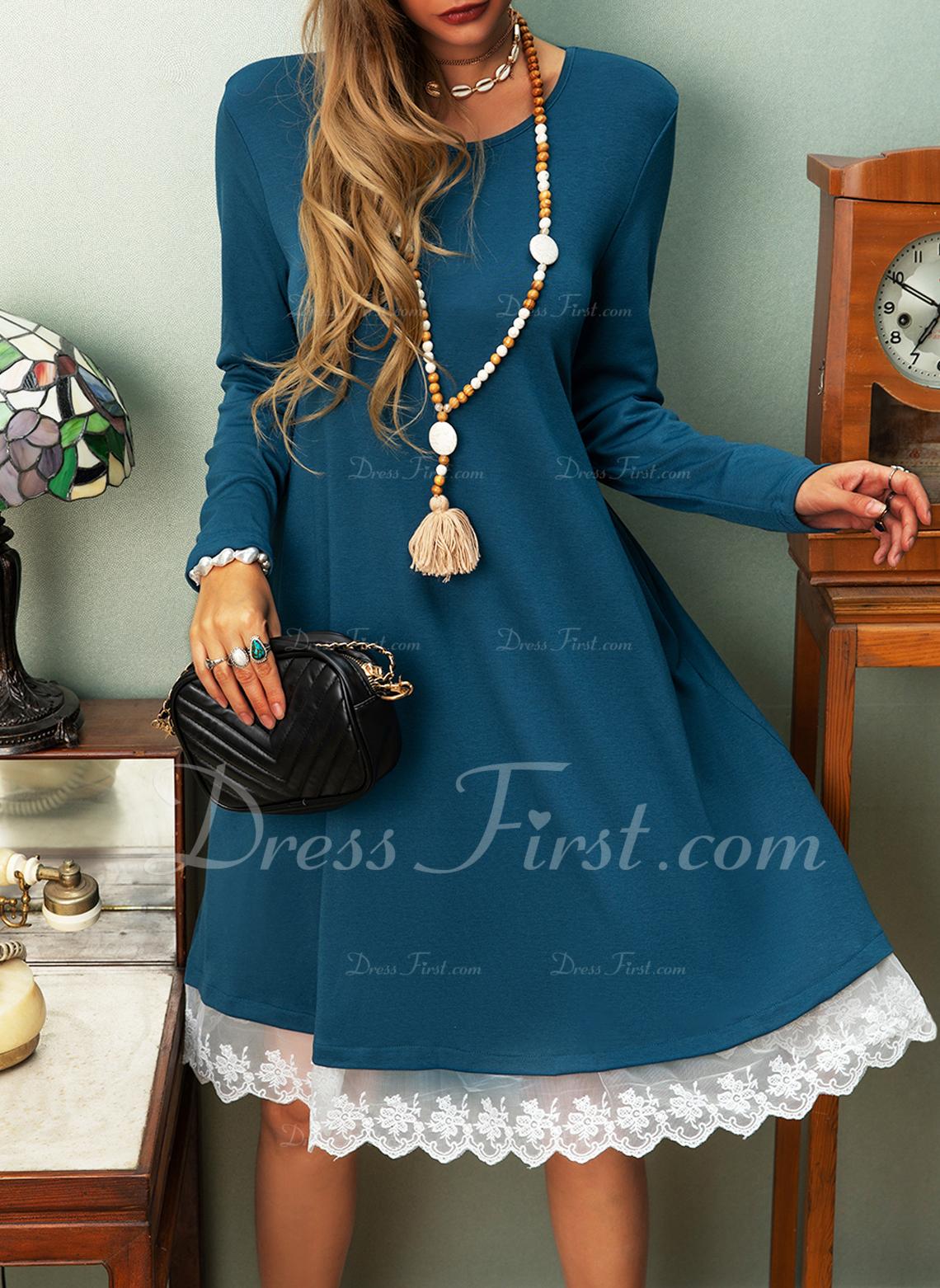 Lace Solid Shift Long Sleeves Midi Casual Vacation T-shirt Dresses