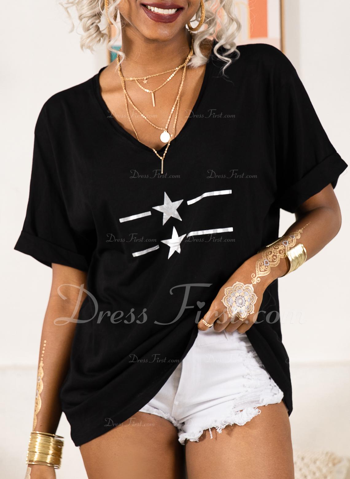 Drucken Kurze Ärmel Polyester V-Ausschnitt T-shirt Blusen