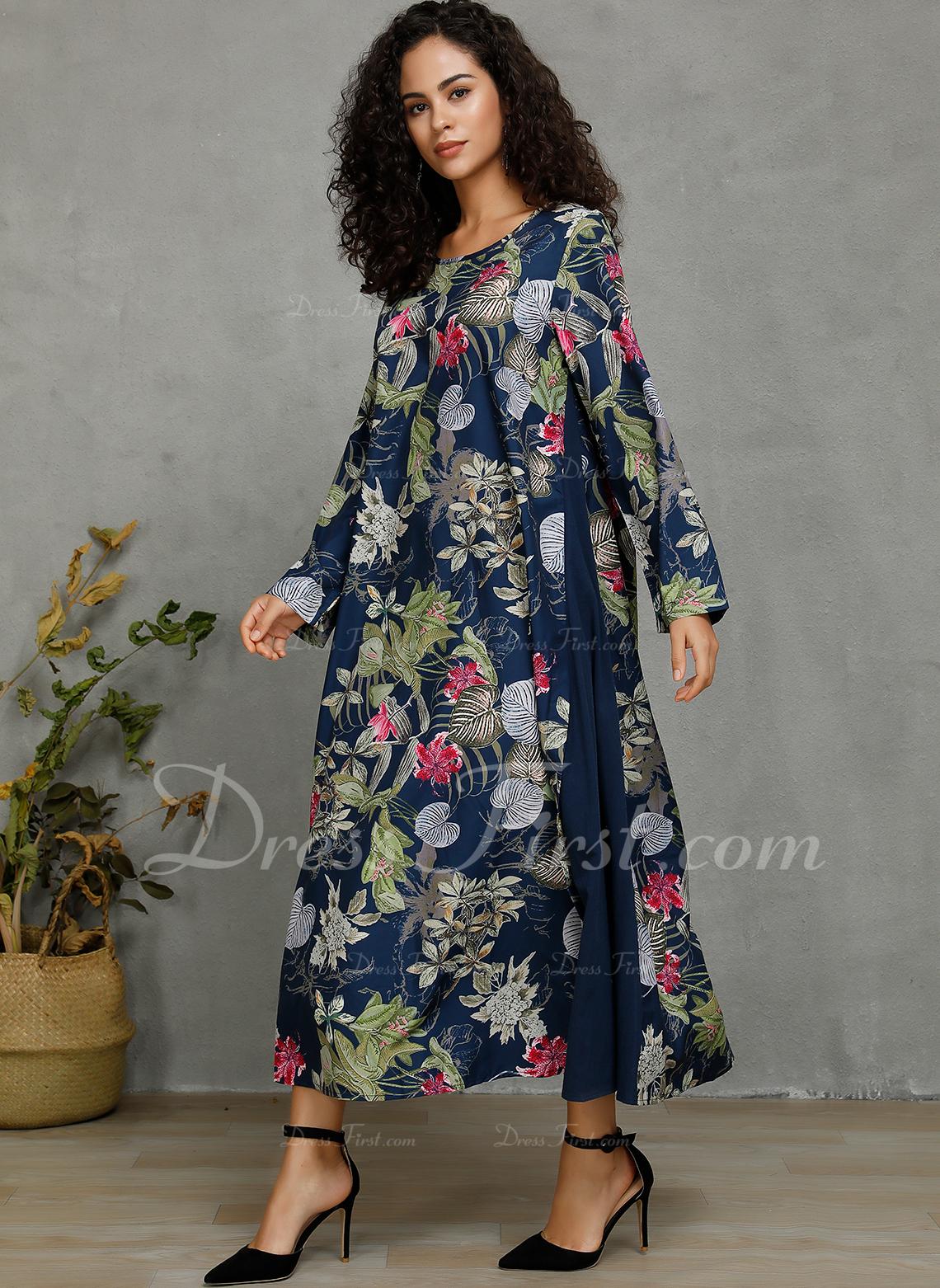 Blomster Print Skiftekjoler 3/4 ærmer Maxi Casual Mode kjoler